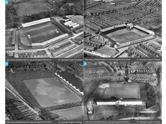 Figure 3.  Some of Leitch's classic football stadiums: clockwise from top left - Blackburn Rovers, Everton, Newcastle, Highbury (during the 1929 FA Cup semi-final against Portsmouth).