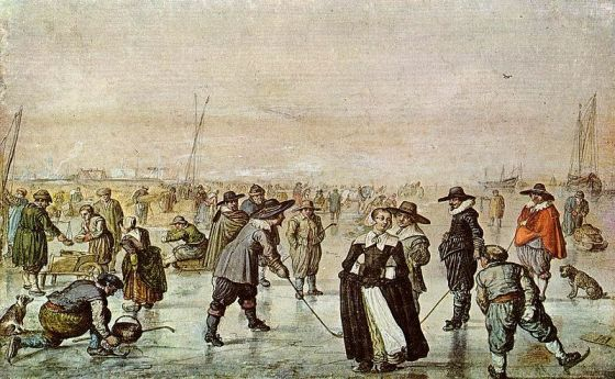 Early days ice skating. Painting by Dutch artist Hendrick Avercamp