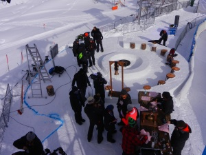The bar and snow circle where the celebrities would be during the live show. Our testing tent was only a metre or so to the left of this shot.